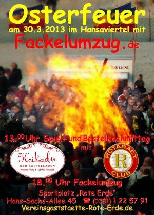 Einladung zum Rostocker Osterfeuer mit Fackelmarsch im Hansaviertel 2013