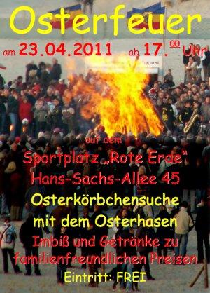 Ankündigung der OSteraktion 2011 auf dem Sportplatz Rote Erde